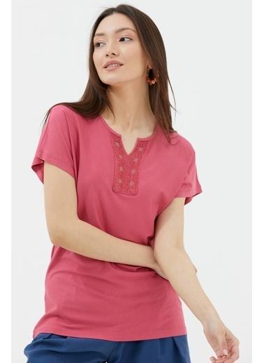 Sementa Yarasa Kol Taşlı Bluz - Gül Kırmızı